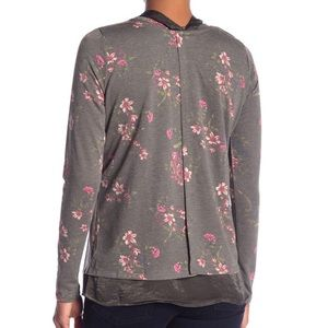 NWT Bobeau | Green Floral Long Sleeve with Tie